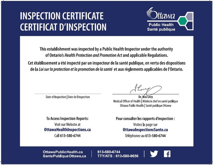 Ottawa Public Health Inspection Certificate