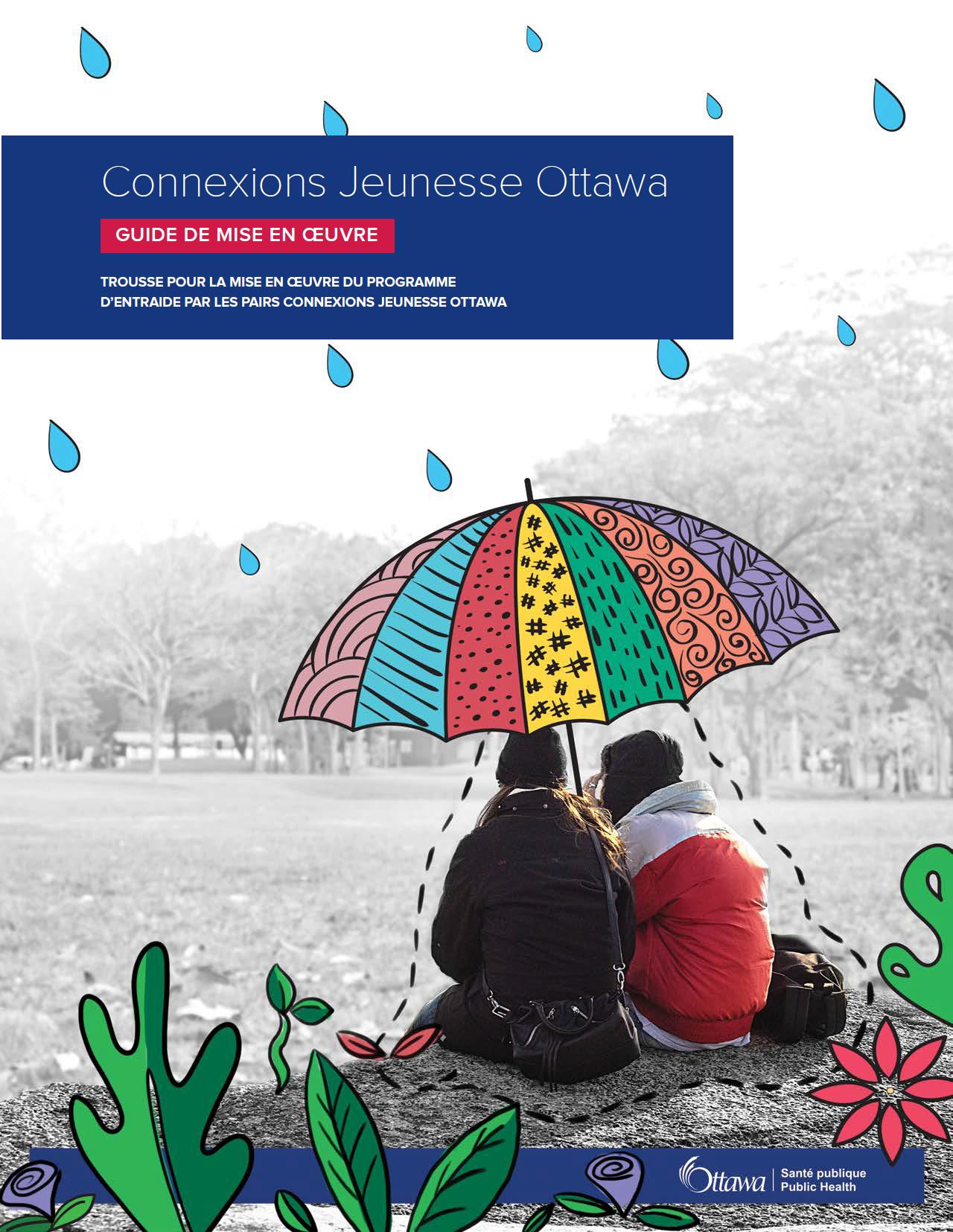 La page couverture du guide. Deux personnes sont assises sous un grand parapluie et des gouttelettes de dessins animés leur tombent dessus