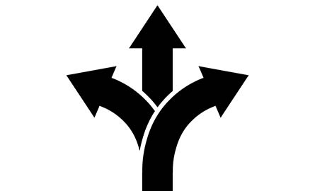 3 arrows pointing right, left and straight