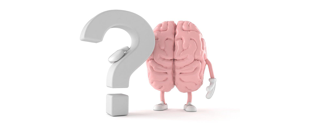 Brain next to question mark