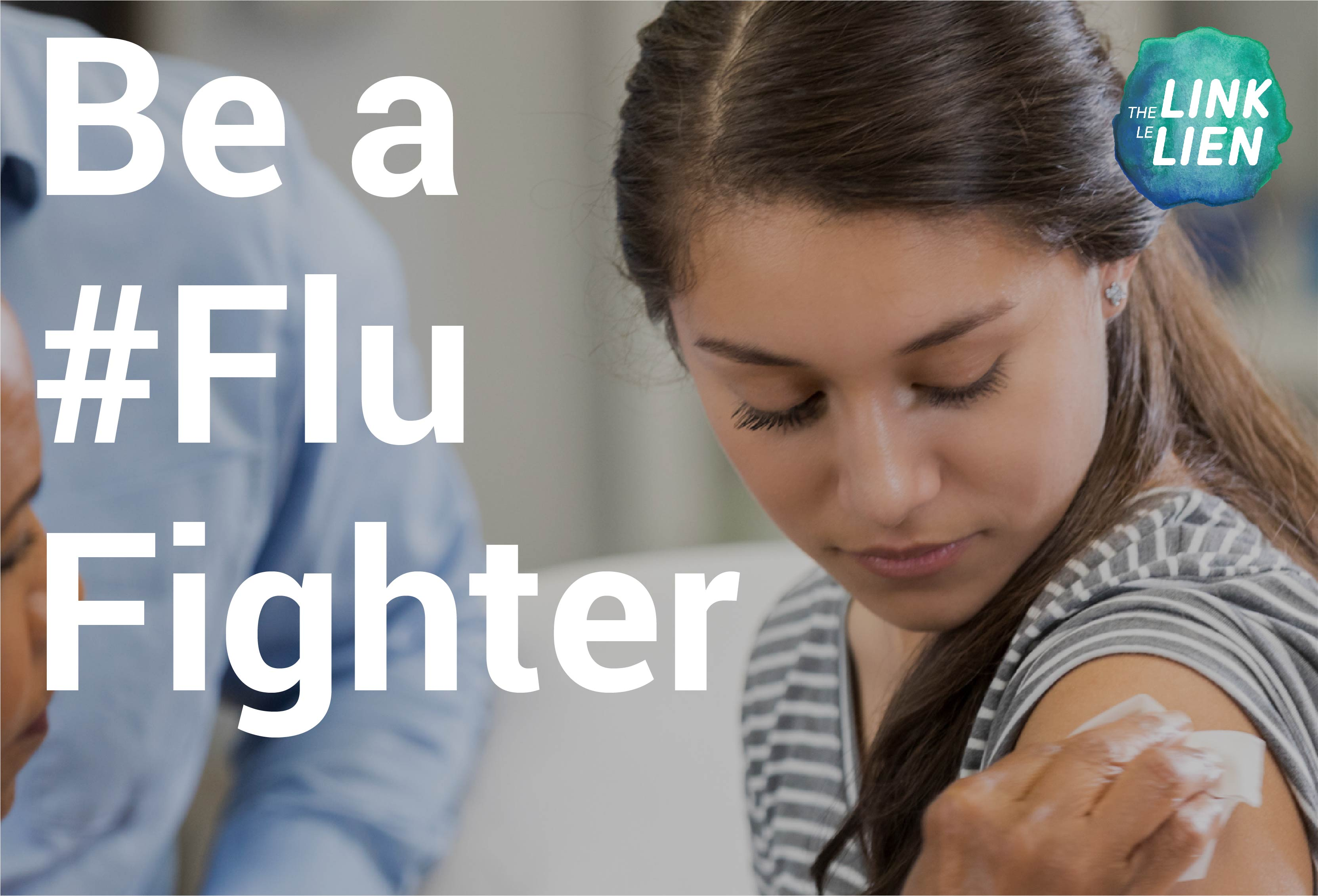 A young adult receiving a flu vaccine